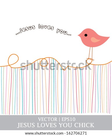 Jesus loves you chick for Christian church vector | EPS10 - stock vector