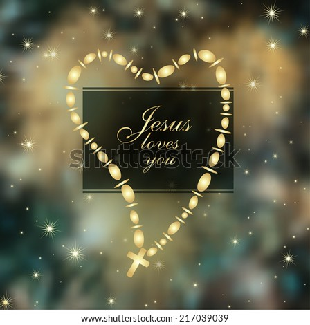 Jesus loves you with Christian Cross in a heart shape over abstract cosmic background, vector - stock vector