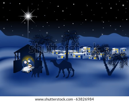 Jesus nativity story eps8 - stock vector