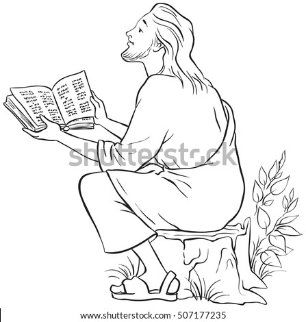 Jesus reading the Bible. Coloring page. Also available colored version