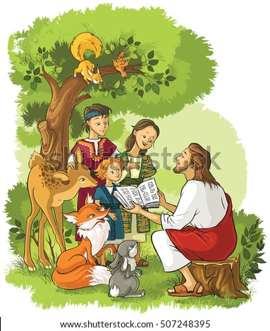 Jesus reading the Bible to children and animals. Also available outlined version