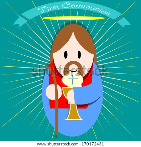 jesus smiling and happy, holding a chalice in his hand. - stock vector