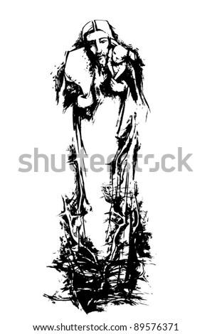 Jesus the good shepherd - stock vector