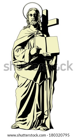 Jesus with a book - stock vector