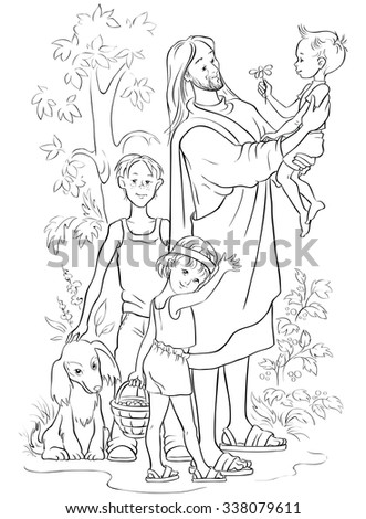 Jesus With Children Vector Christian Cartoon Black And White Illustration Coloring Page Also