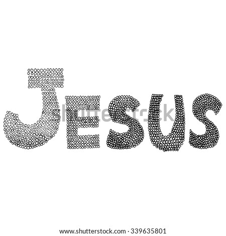 Jesus word in circle black line art drawing on white background - stock vector