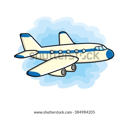 Jet airplane icon on a sky background. - stock vector