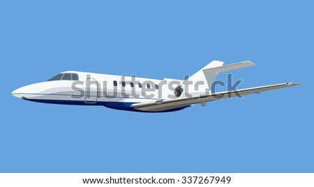 Jet airplane on a blue background