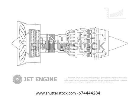 Jet Engine Aircraft Part Airplane Side Vector 674444284 – Industrial Engine Diagram
