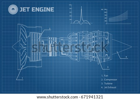 Jet engine of airplane. Outline style. Industrial aerospase blueprint. Part of the aircraft. Side view. Vector illustration
