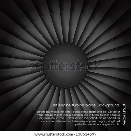 Jet engine turbine blade airplane. Background. - stock vector