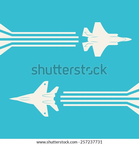 Jet fighter aircrafts flying on sky for your design - stock vector