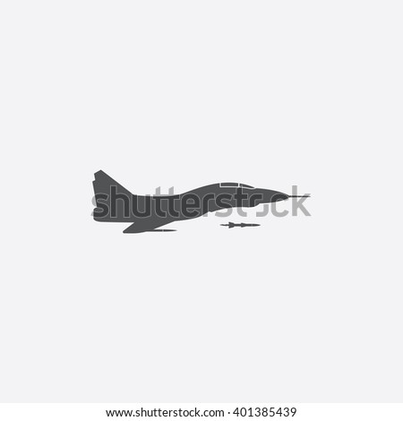 Jet fighter icon. - stock vector