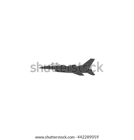 Jet fighter icon. Vector airplane silhouette isolated on white background. - stock vector