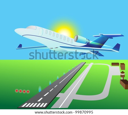 jet plane business of a class above air station - stock vector