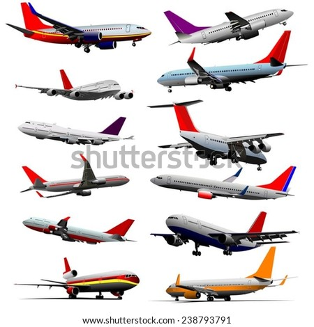 Jet planes flying in a sky. Vector illustration set - stock vector