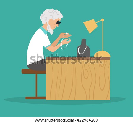 Jeweler at work. Working place, lamp, decoration. Profession. Vector illustration. Cartoon character - stock vector