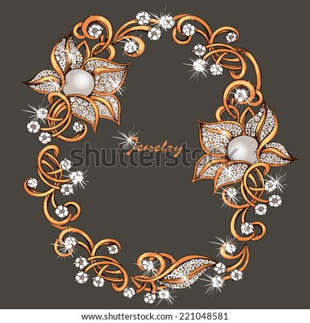 Jeweler decoration. Scope, framing.Necklace from gold with jewels - stock vector