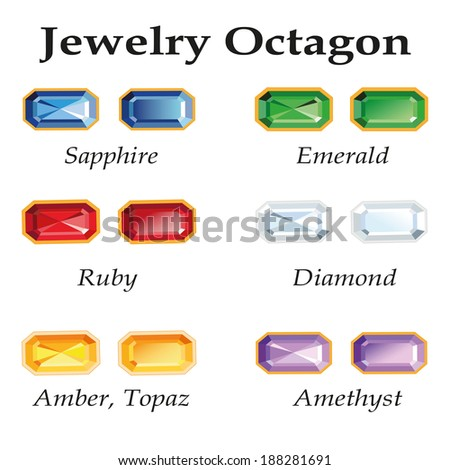 Jewelery set with faceting octagon - diamond, emerald, sapphire, ruby, amethyst, topaz and amber on white background.  - stock vector