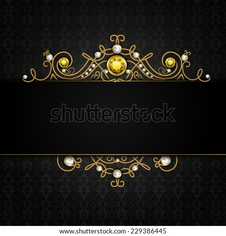 Jewellery black background with unique classic vintage golden diamond gems tiara vector illustration - stock vector