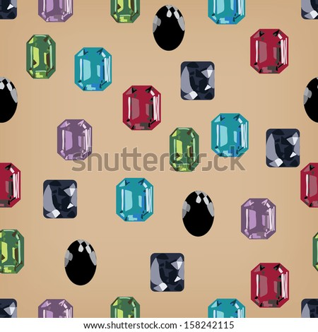 jewellery seamless gemstone treasure background - stock vector
