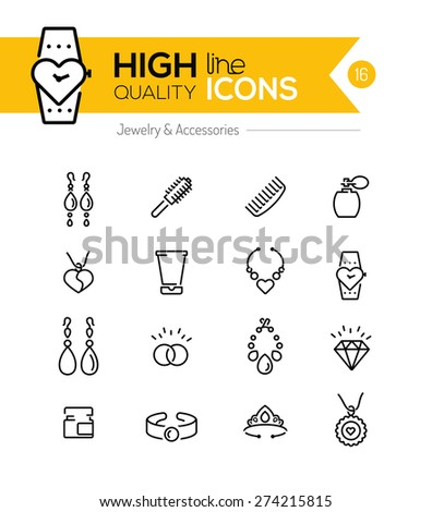 Jewelry and Accessories line icons series - stock vector