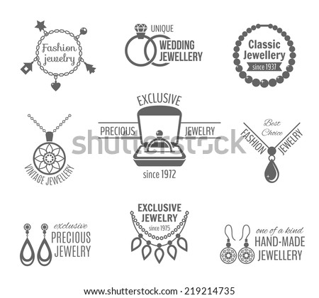 Jewelry black label set of unique classic vintage jewellery isolated vector illustration - stock vector