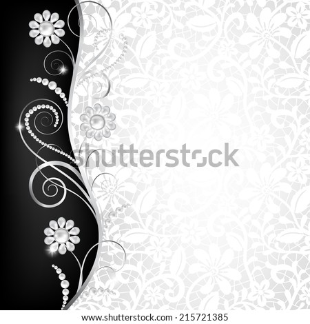 Jewelry Border On White Lace Background Illustration – Black and White Invitation Cards