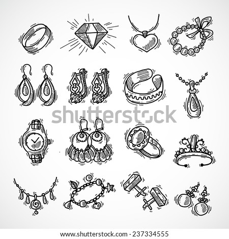 Jewelry decorative icons set with watches diamons jewel bracelet sketch isolated vector illustration - stock vector