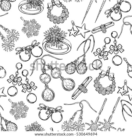 Jewelry Fashion Vector Illustration Coloring Book For Children And Adults Handmade Seamless