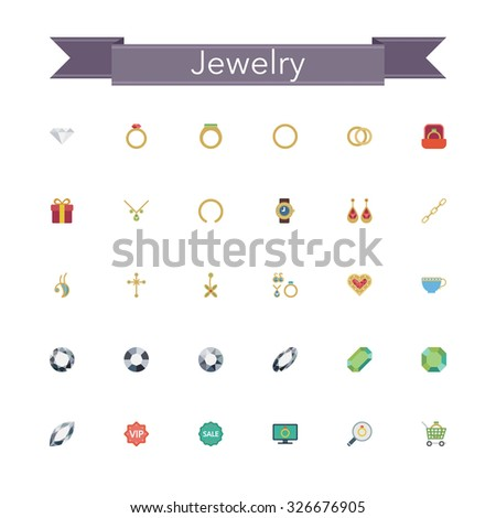 Jewelry flat icons set. Vector illustration.