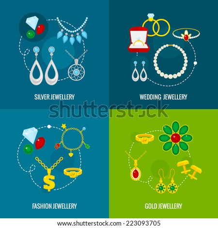 Jewelry icons flat set of silver gold wedding fashion jewellery isolated vector illustration - stock vector