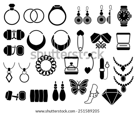 Jewelry icons set, isolated on white. Vector Illustration. - stock vector