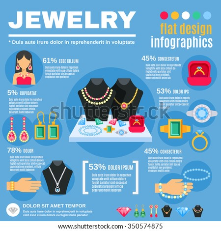 Jewelry infographic set with woman earrings and rings flat vector illustration  - stock vector