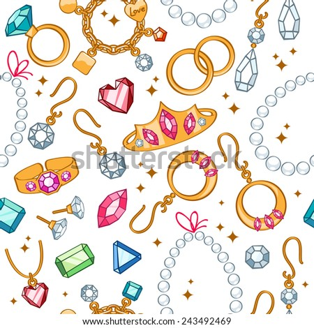 Jewelry items seamless light background. Pattern with rings, earrings, pearl beads and gemstones. - stock vector