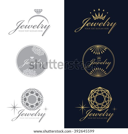 Jewelry logo (Ring ,Crown ,Diamond Octagon) vector set and isolate on white background