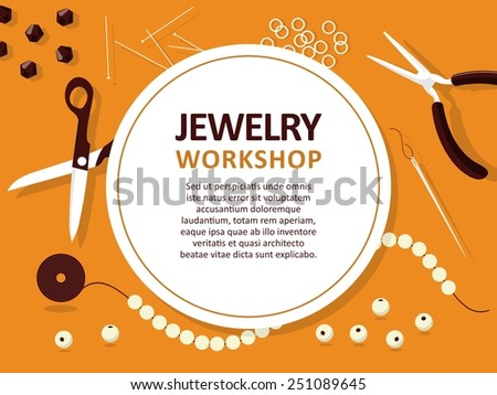 Jewelry making tools - vector template for cards, invitations, banners. You can place your text here - stock vector