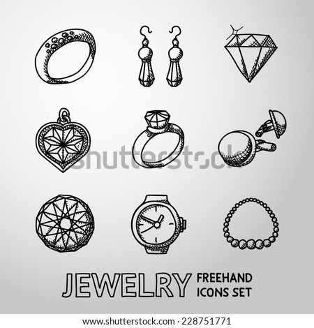 Jewelry monochrome freehand icons set with - rings, diamonds, watch, earrings, pendant, cuff links, necklace. Vector - stock vector