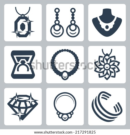 Jewelry related vector icons set - stock vector