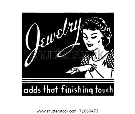 Jewelry - Retro Ad Art Banner - stock vector