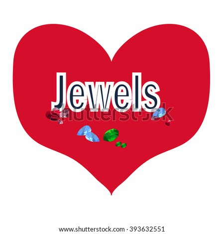 Jewels in the red heart - stock vector