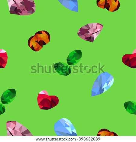 Jewels on the green background  - stock vector