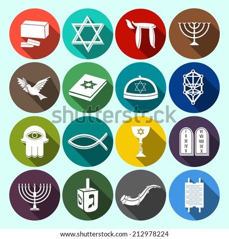 Jewish Church Traditional Religious Symbols Flat Stock Vector