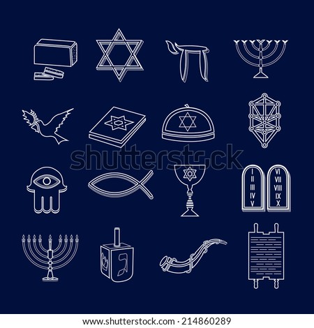 Jewish church traditional religious symbols outline icons set isolated vector illustration - stock vector