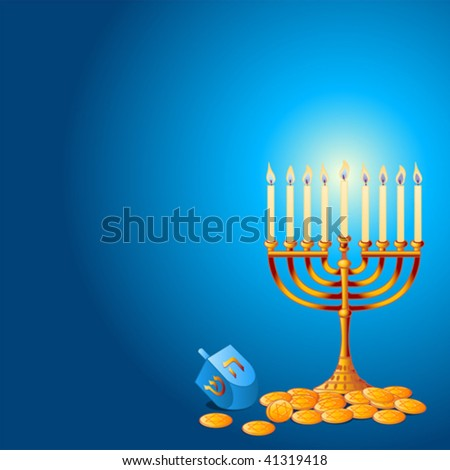 Jewish festival of Hanukkah/Chanukah Background, including Menorah, dreidls/sevivot and Hanukkah Gelt - stock vector