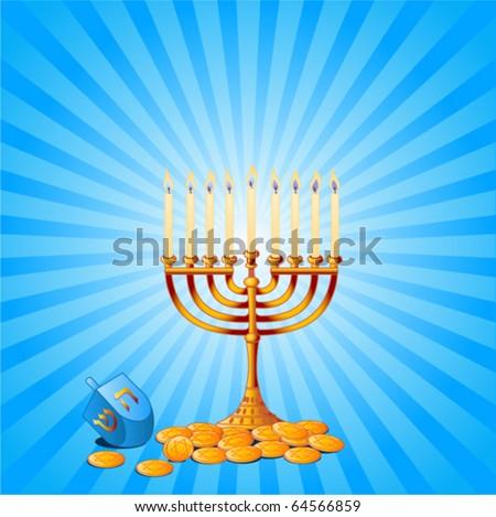 Jewish festival of Hanukkah/Chanukah Background, including Menorah, dreidls/sevivot and Hanukkah Gelt - stock vector