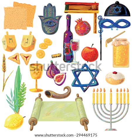 Jewish holidays set Israel holidays. Hanukkah, Purim, Pesach, Sukkot, Ros-Hashanah, Shavuot, Sim hat-Torah. Perfect for your design - stock vector