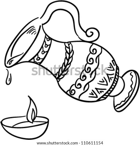 Jewish Oil Jar Light Stock Vector 110611154 - Shutterstock