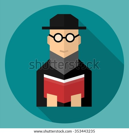 Jewish rabbi flat icon with long shadow - stock vector