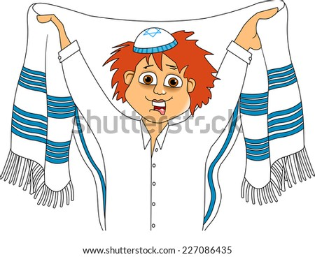 Jewish teenager wears a tallit before prayer, vector - stock vector